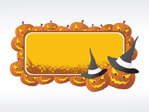 Halloween Frame With Pumpkin On The Background