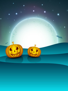 Halloween Full Moon Night Background With Flying Bats And Scary Pumpkins.