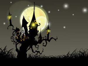 Halloween Full Moon Night Background With Haunted House And Dead Trees. Eps 10