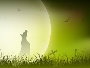 Halloween Full Moon Night Background.