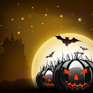 Halloween Full Moonlight Background With Scary Pumpkins