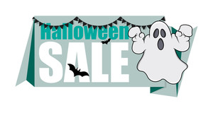 Halloween Ghost Banner Vector