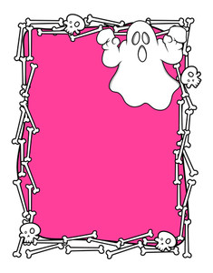 Halloween Ghost Bones Frame Vector