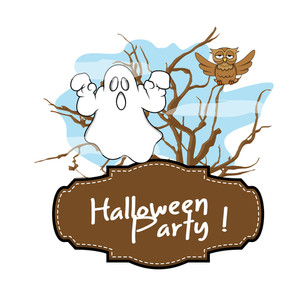 Halloween Ghost Greeting Banner