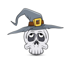 Halloween Ghost Skull With Witch Hat Vector