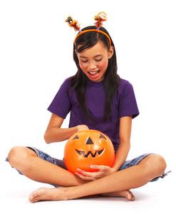 Halloween Girl Getting A Treat
