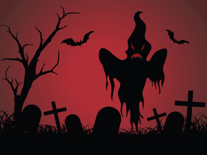 Halloween Graveyard Red Background