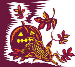 Halloween Jack O Lantern Pumpkin With Corn