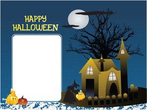 Halloween Monster House With Banner