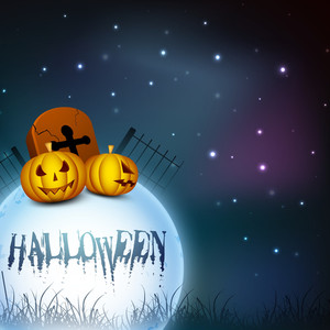 Halloween Moonlight Night Background With Pumpkins And Gravestone