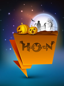 Halloween Moonlight Night Banner With Pumpkins