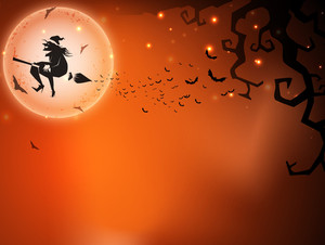 Halloween Night Background With Flying Witch Silthouette On Broom Stick