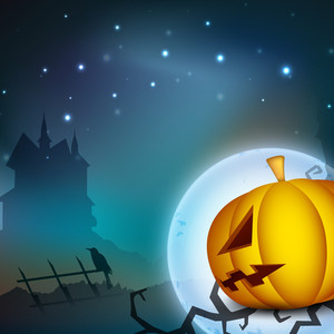 Halloween Night Background With Scary Pumpkin And Haunted House