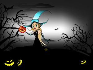 Halloween Night Background With Witch And Scary Pumpkins. Eps 10