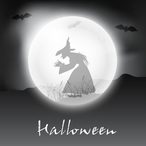 Halloween Night Background With Witch Silthouette In The Moon