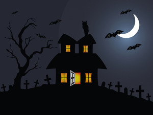 Halloween Night Scene In Graveyard, Illustration