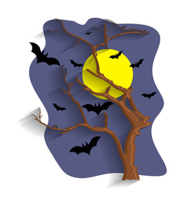 Halloween Night With Bats And Dead Tree