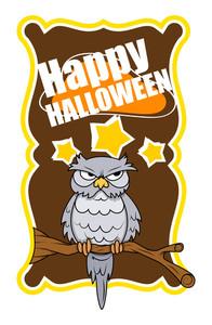 Halloween Owl Greeting Banner