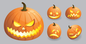 Halloween Pumpkin Emotions. Vector.