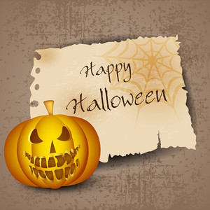 Halloween Pumpkin On Grungy Background With Space For Your Text