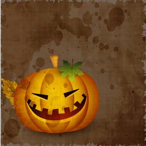 Halloween Pumpkin On Grungy Brown Background