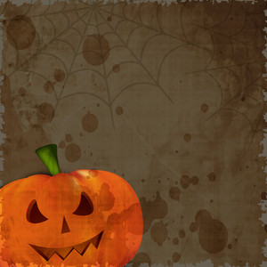 Halloween Pumpkin On Grungy Brown Background