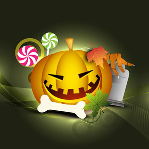 Halloween Pumpkin On Retro Background