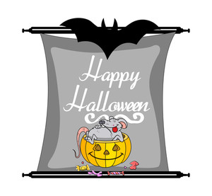 Halloween Pumpkin With Funny Rat Holiday Banner