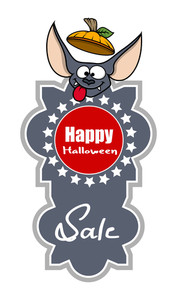 Halloween Sale Banner Funny Bat Face