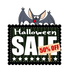 Halloween Sale Banner With Cartoon Bat