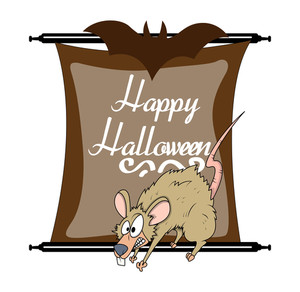 Halloween Scared Rat Character