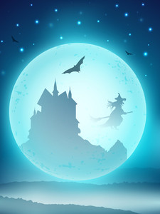 Halloween Scary Full Moon Night Background Haunted House