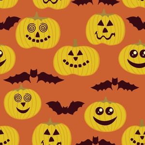 Halloween Seamless Texture With Pumpkin And Bats