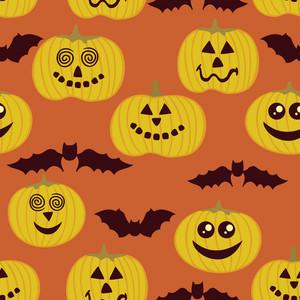 Halloween Seamless Texture With Pumpkin And Bats