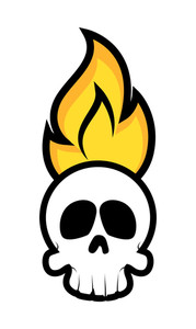 Halloween Skull Face With Fire Vector