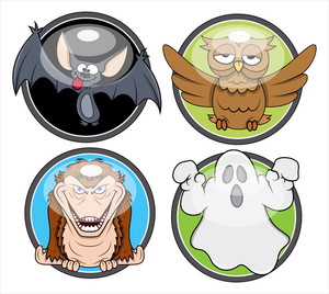 Halloween Spooky Badges Vectors