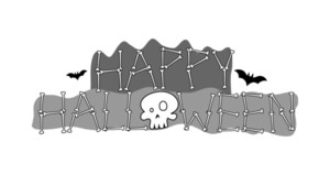Halloween Text Skull Banner