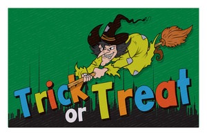 Halloween Witch Character Retro Background