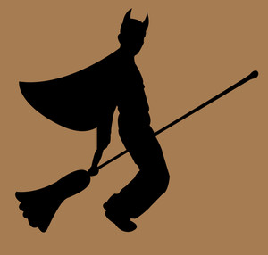 Halloween Witch Flying On Broomstick