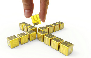 Hand And 3d Gold Word Solution, Business Concept