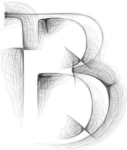 Hand Draw Font. Letter B. Vector Illustration