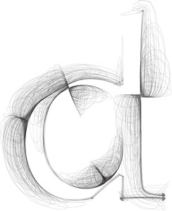 Hand Draw Font. Letter D. Vector Illustration