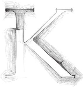 Hand Draw Font. Letter K. Vector Illustration
