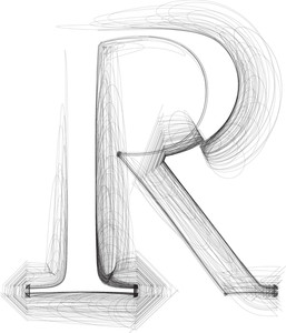 Hand Draw Font. Letter R. Vector Illustration