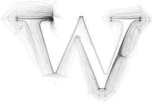 Hand Draw Font. Letter W. Vector Illustration