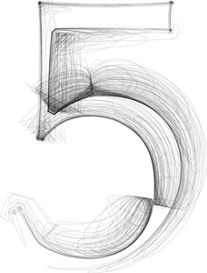 Hand Draw Font. Number 5. Vector Illustration