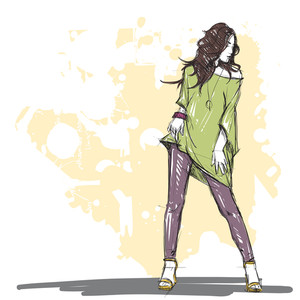 Hand Drawing Of A Pretty Fashion Girl In Sketch Style. Vector Illustration.