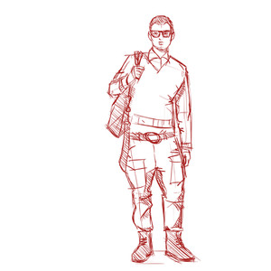 Hand Drawing Of A Stylish Boy In Sketch Style. Vector Illustration.