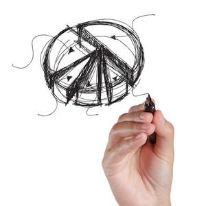 Hand Drawing Pie On A White