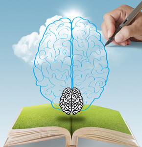 Hand Drawn Brain Growing From Book